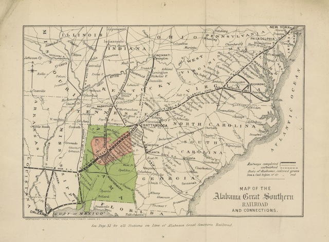"""map from """"The Hill Country of Alabama, U.S.A.; or, the Land of rest. [A pamphlet published for the English Committee of holders of Alabama Eight per Cent Gold State Bonds of 1870. With a map of the Alabama Great Southern Railroad.]"""""""