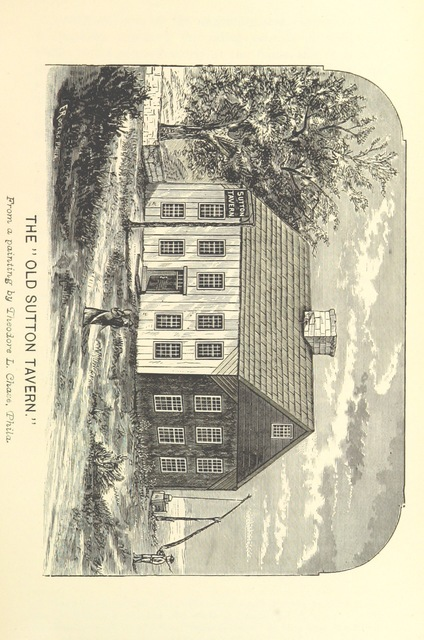 """Old Sutton Tavern from """"History of the Town of Sutton, Massachusetts, from 1704 to 1876 ... Compiled by Rev. William A. Benedict ... and Rev. Hiram A. Tracy. [With plates, including a portrait.]"""""""