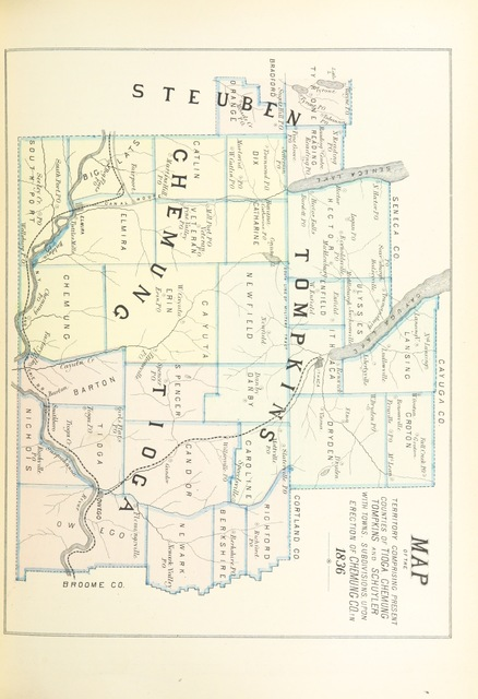 """map from """"History of Toga, Chemung, Tompkins, and Schuyler Counties, New York. With illustrations and biographical sketches of some of its prominent men and pioneers"""""""