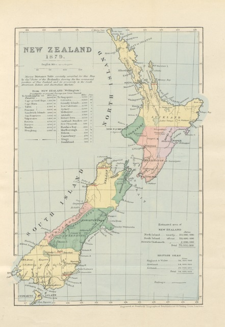 """map from """"Old England and New Zealand: the Government, Laws, Churches, public institutions, and the resources of New Zealand ... With an historical sketch of the Maori race ... Extracts from the author's diary of his voyage to New Zealand, etc"""""""