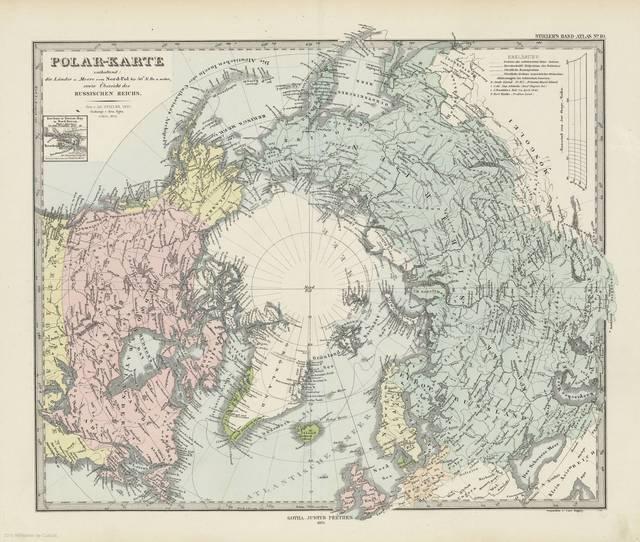 Polar - Karte : enthaltend, die Lander V. Meere vom Nord - Pol bis 50 N. Br. V Weiter, sowie Ubersicht des Russischen Reichs< : [Karte]