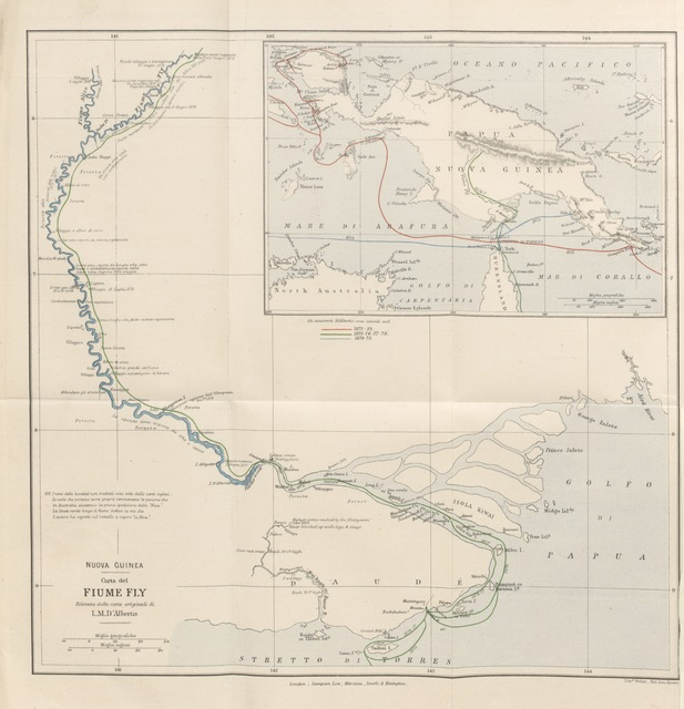 "map from ""Alla Nuova Guinea: ciò che ho veduto e ciò che ho fatto. [With illustrations of birds by J. Gould.]"""