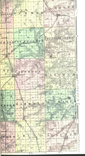 """map from """"History of Hancock County, Illinois, together with an outline history of the State, and a digest of State Laws"""""""