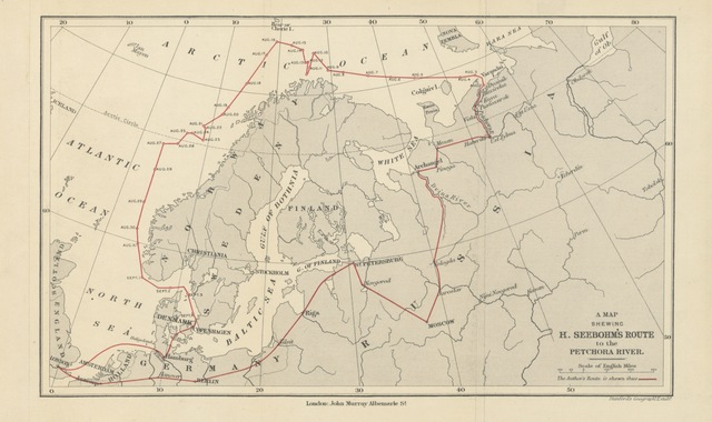 """map from """"Siberia in Europe: a visit to the Valley of the Petchora in North-East Russia; with descriptions of the natural history, migration of birds, etc. With map and illustrations"""""""
