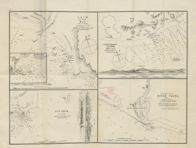 """map from """"The Guinea or Gold Coast of Africa, formerly a colony of the Axumites or ancient Abyssinians in the reign of King Solomon and the veritable Ophir of Scripture ... With a fac-simile map of the Gold Coast Territory, by d'Anville, printed in the year 1729. Also plans of the ports of Cape Coast Castle, etc"""""""