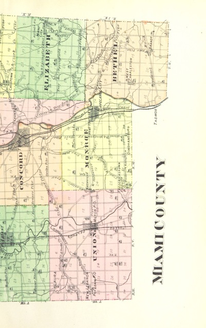 """map from """"The history of Miami County, Ohio ... Illustrated"""""""