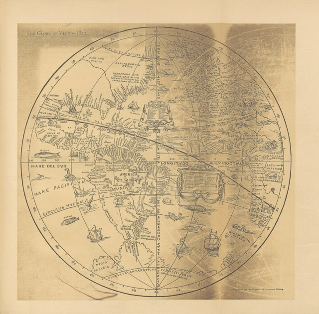 "map from ""Verrazano the Explorer: being a vindication of his letter and voyage, with an examination of the map of Hieronimo da Verrazano. And a dissertation upon the globe of Vlpius. To which is prefixed a bibliography of the subject. [With plates, including a portrait and maps.]"""