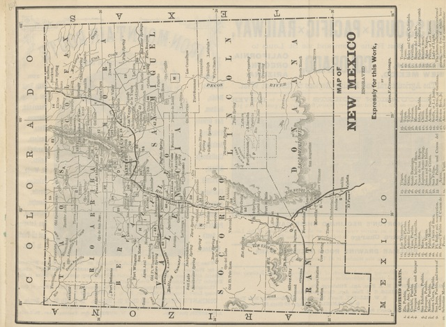 """map from """"Where to go to become rich. Farmers', Miners' and Tourists' Guide to Kansas, New Mexico, Arizona and Colorado"""""""