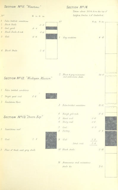 "diagram from ""Report upon the Coal-Fields of Klip River, Weenan, Umvoti, and Victoria Counties, together with tabulated statement of results obtained from a series of trials of colonial coal upon the Natal Government Railways, by F. W. North"""