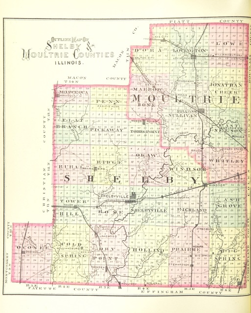 """map from """"1763. Combined History of Shelby and Moultrie Counties ... With illustrations, etc"""""""