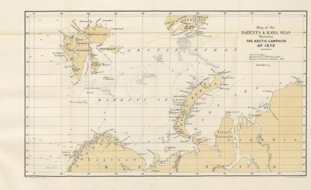 "map from ""A Polar Reconnaissance, being the voyage of the ""Isbjörn"" to Novaya Zemla in 1879 ... With maps and illustrations. [Edited by C. R. Markham.]"""
