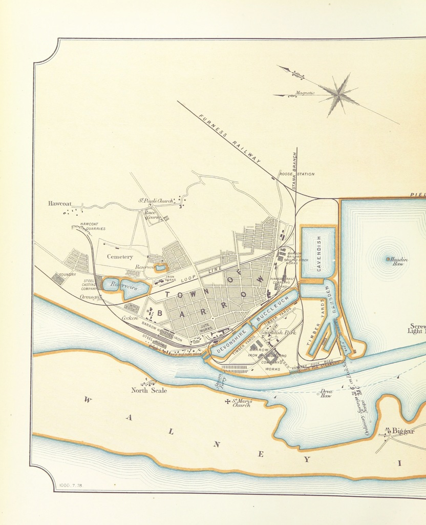 """map from """"Barrow-in-Furness, its history, development, commerce, industries, and institutions ... Illustrated"""""""