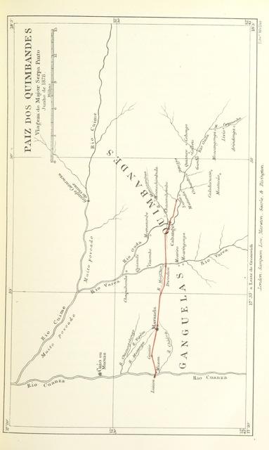 """map from """"Como eu atravessei Àfrica do Atlantico ao Mar Indico, viagem de Benguella á Contra-Costa ... Contendo 15 mappas e facsimiles, e 133 gravuras, etc"""""""