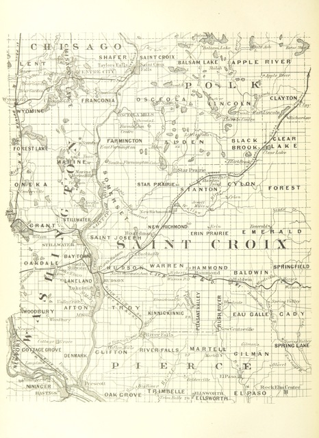 """map from """"History of Washington County and the St. Croix Valley, including the Explorers and Pioneers of Minnesota, by ... E. D. Neill, and Outlines of the History of Minnesota, by J. F. Williams"""""""