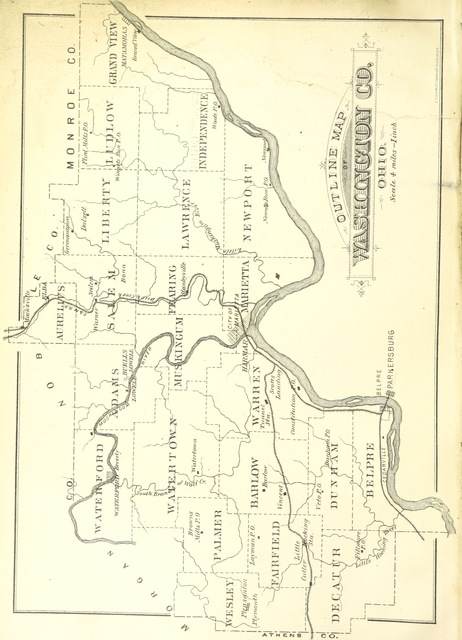 """map from """"History of Washington County, Ohio, with illustrations and biographical sketches"""""""