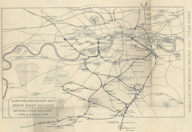 "map from ""The Iron Roads Dictionary and travellers' route charts of the English and Welsh Railways; ... with ... engravings and ... maps ... Compiled and edited by J. R. S. V"""