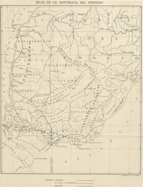 "map from ""The Republic of Uruguay, South America, as a field for emigration: its geography ... and the facilities afforded for permanent settlement. With map"""