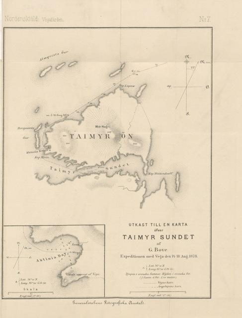 """map from """"Vegas Reise omkring Asia og Europa ... Autoriseret Udgave for Norge og Danmark ved B. Geelmuyden, etc"""""""