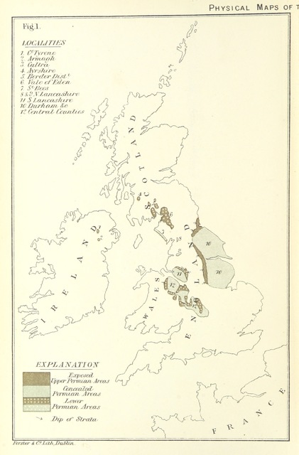 "map from ""Contributions to the Physical History of the British Isles. With a dissertation on the origin of Western Europe, and of the Atlantic Ocean. Illustrated by ... coloured maps"""