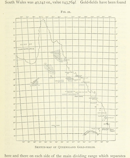 """map from """"Gold: its occurrence and extraction. Embracing the geographical and geological distribution ... of gold-bearing rocks; ... a bibliography of the subject; and a glossary of English and foreign technical terms ... With ... maps, etc"""""""