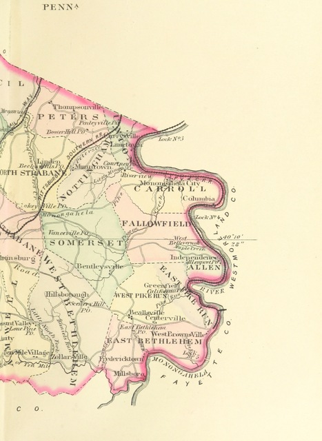 """map from """"History of Washington County, Pennsylvania, with biographical sketches of many of its pioneers and prominent men ... Illustrated. [With a map.]"""""""