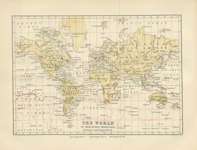 "map from ""The English Circumnavigators ... Edited with notes, etc., etc., by D. L. Purves and R. Cochrane"""