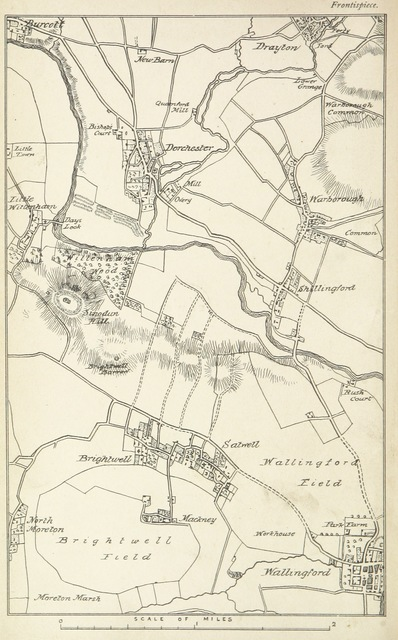 """map from """"The History of Dorchester, Oxfordshire: British earthworks-Roman Camp-Bishopric. And the architectural history of the Church, compiled from the best authorities. With a general introduction by J. H. P"""""""