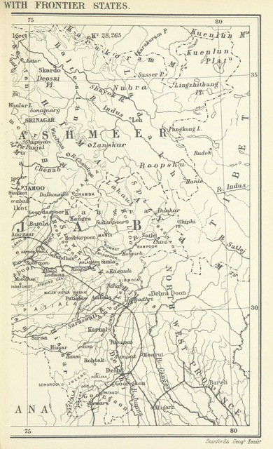 "map from ""The Student's Geography of India. The Geography of British India, political & physical ... with maps"""
