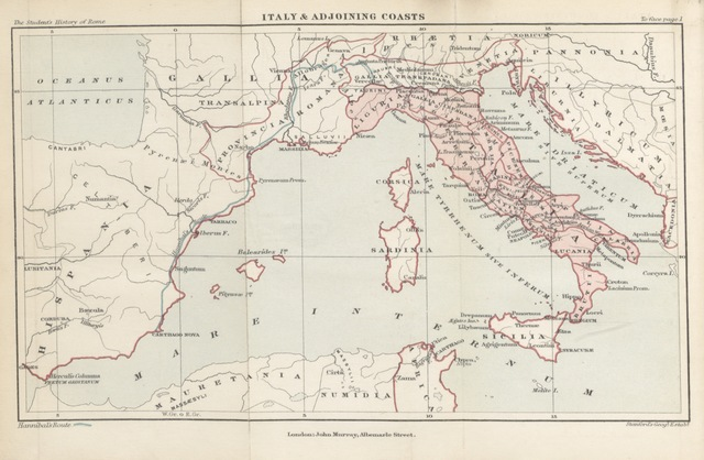 "map from ""[The Student's Rome. A History of Rome ... Illustrated ... New edition, ... revised.]"""