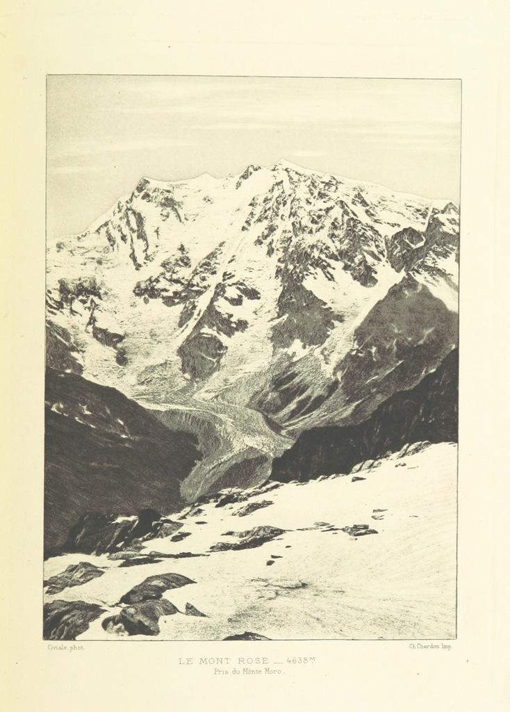 """Mountain from """"Les Alpes au point de vue de la géographie physique et de la géologie. Voyages photographiques dans le Dauphiné, la Savoie, le Nord de l'Italie, la Suisse et le Tyrol. Avec 14 héliogravures d'après les photographies de l'auteur et deux cartes, etc"""""""