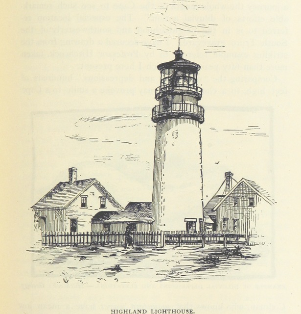 """lighthouse from """"Truro ... Cape Cod, or, Land marks and Sea marks ... Illustrations"""""""