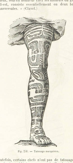 "tattoo from ""Dictionnaire des sciences anthropologiques ... publié sous la direction de A. Bertillon, Coudereau, A. Hovelacque, Issaurat [and others], etc"""