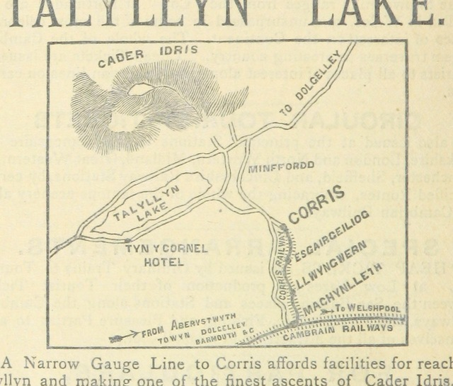 "map from ""The Pictorial Itinerary, an illustrated guide to the railways and coach-roads of North Wales, etc"""