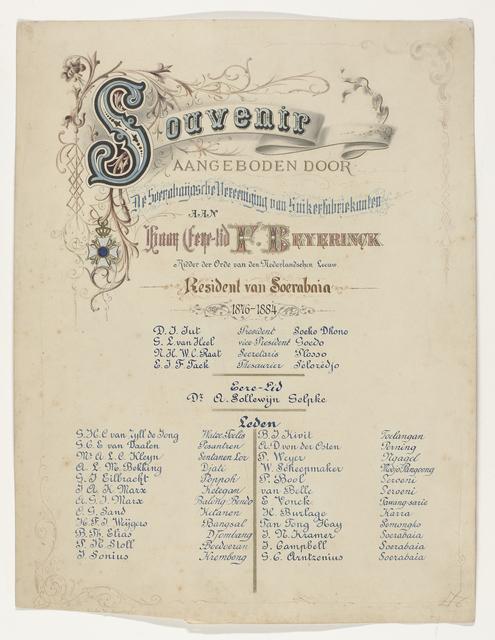 Souvenir aangeboden door de Soerabaijasche Vereeniging van Suikerfabrikanten aan haar Eere-lid F. Beyerinck Ridder der orde van den Nederlandschen Leeuw Resident van Soerabaia 1876-1884