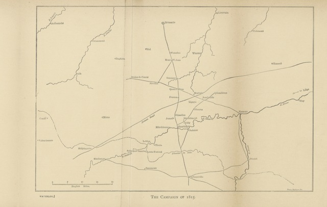 """map from """"[The Campaigns of Napoleon: Arcola, Marengo, Jena, Waterloo ... extracted from Thiers's History of the Consulate and the Empire; and edited, with English notes by E. E. Bowen ... With maps. Fr.]"""""""
