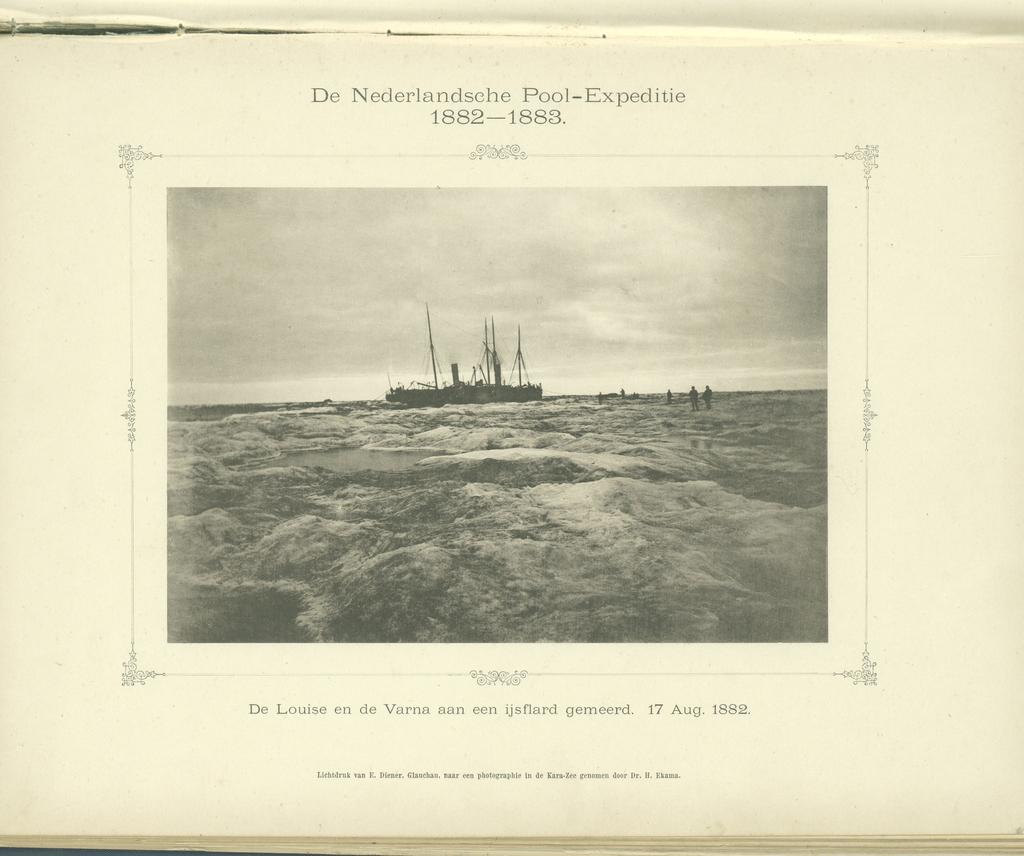 De Louise en de Varna aan een ijsflard gemeerd. 17 Aug. 1882