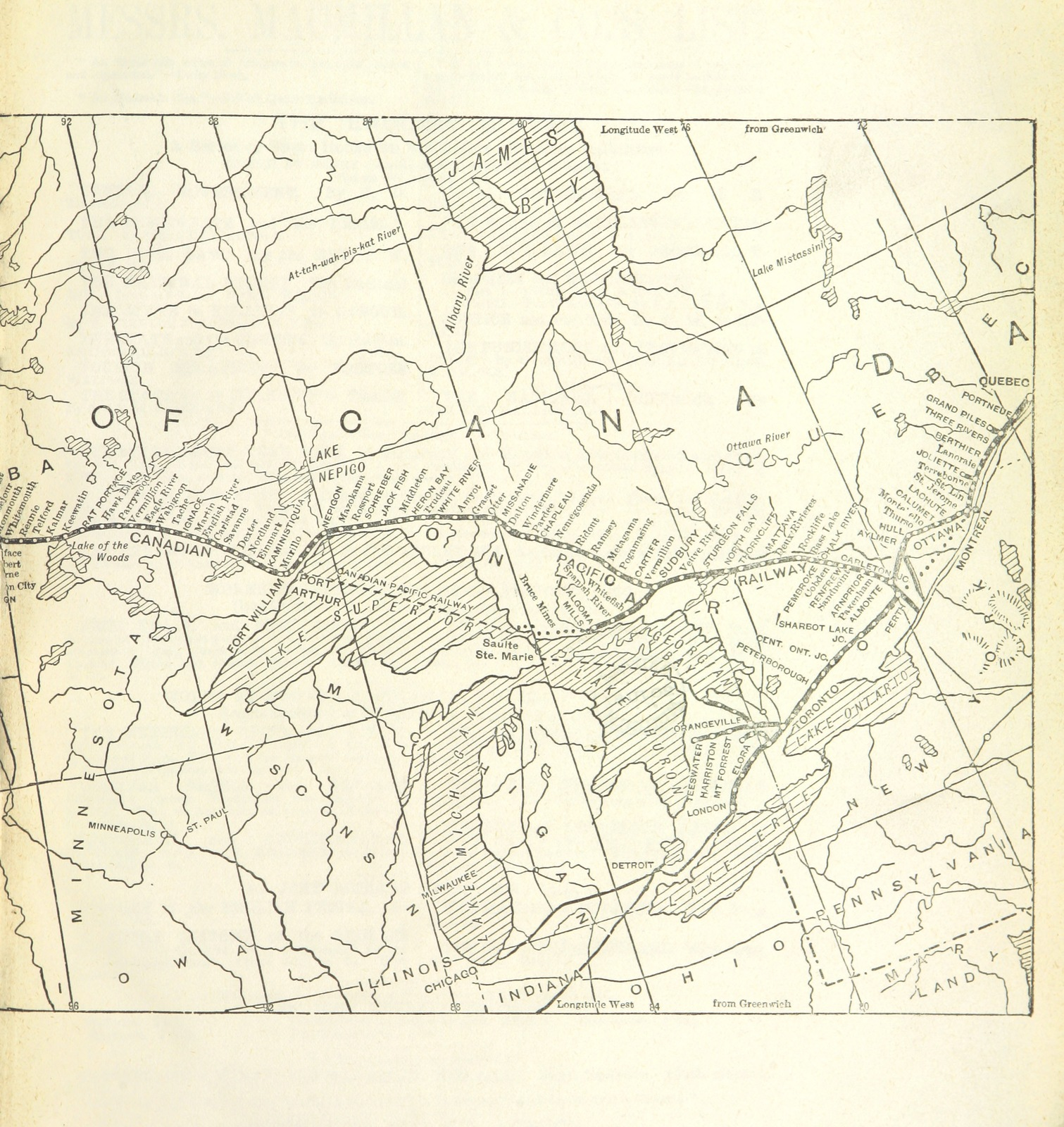 """map from """"A Canadian Tour. A reprint of letters from the Special Correspondent of The Times"""""""