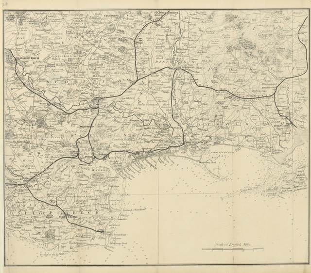 """map from """"[A Descriptive Guide to Bournemouth, Christchurch, Wimborne and Corfe Castle ... Illustrated with map and photographs.]"""""""