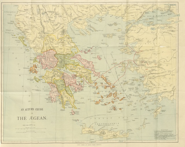 """map from """"An Autumn Cruise in the Ægean, or, Notes of a voyage in a sailing-yacht, etc. [With plates and a map.]"""""""