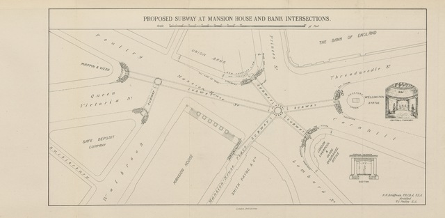 """map from """"Essays on the Street Re-alignment, Reconstruction, and Sanitation of Central London, and on the re-housing of the poorer classes. To which prizes offered by William Wertgarth were awarded by the Society of Arts, 1885. [With plans.]"""""""