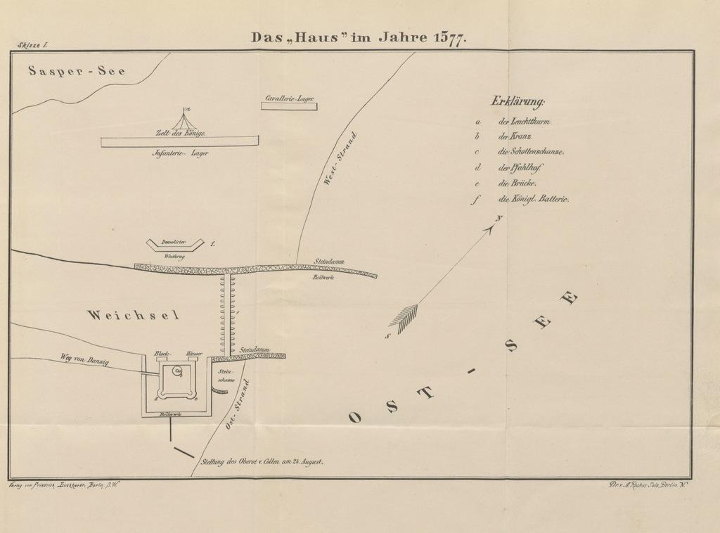 """map from """"Geschichte der Festung Weichselmünde bis zur preussischen Besitznahme 1793. Aus dem Kriegs-Archive des Grossen Generalstabes. Herausgegeben von F. K. Mit ... Skizzen"""""""