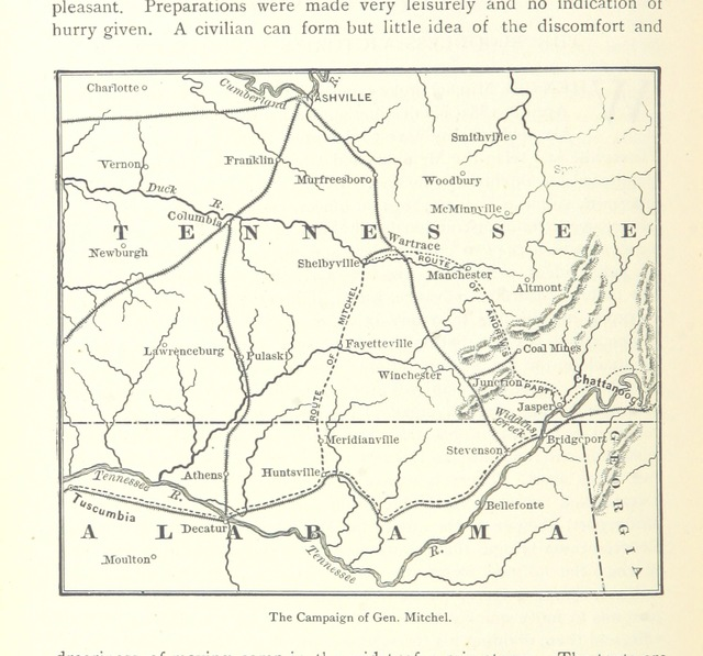 "map from ""[Daring and Suffering: a history of the Great Railroad Adventure [i.e. the Andrews Railroad Raid.] ... With an introduction, by ... A. Clark.]"""