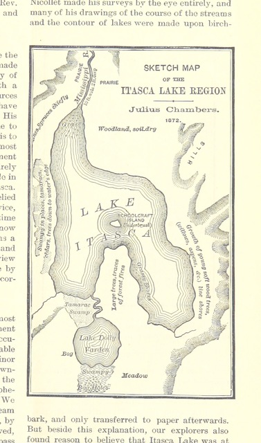 "map from ""The Source of the Mississippi, comprising I. Letter from Messrs. Ivison, Blakeman, Taylor & Company. II. Report of Hopewell Clarke, chief of the I. B. T. & Co. Expedition to the headwaters of the Mississippi, October, 1886. Reprinted from ""Science."""""