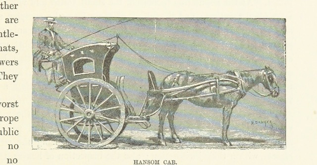 "hansom cab from ""London and its Environs. A picturesque survey of the metropolis and the suburbs ... Translated by Henry Frith. With ... illustrations"""
