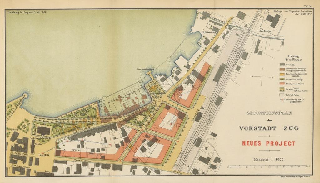 """map from """"Die Catastrophe von Zug, 5. Juli, 1887. Gutachten der Experton ... A. Heim, ... R. Moser, ... A. Bürkli-Ziegler. Geschichtliche Notizen von A. Wickart ... Auszug aus dem Protocoll über die Vertheilung der Liebesgaben, von A. Keiser, etc. [With five coloured plates.]"""""""