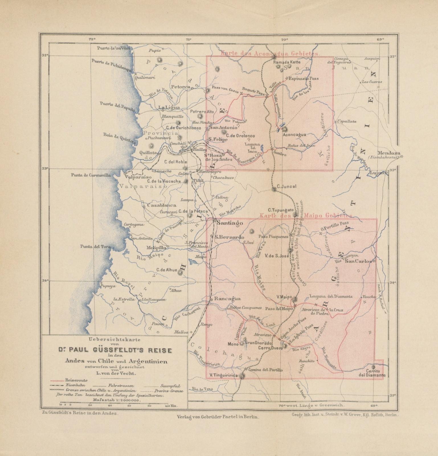 """map from """"Reise in den Andes von Chile und Argentinien. ... Mit Uebersichtskarte und 2 Specialkarten"""""""
