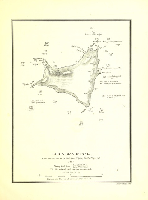 """map from """"Report on Christmas Island, Indian Ocean. H.M.S. """"Egeria,"""" 1887. [Signed: Pelham Aldrich, Captain R.N. With a map.]"""""""