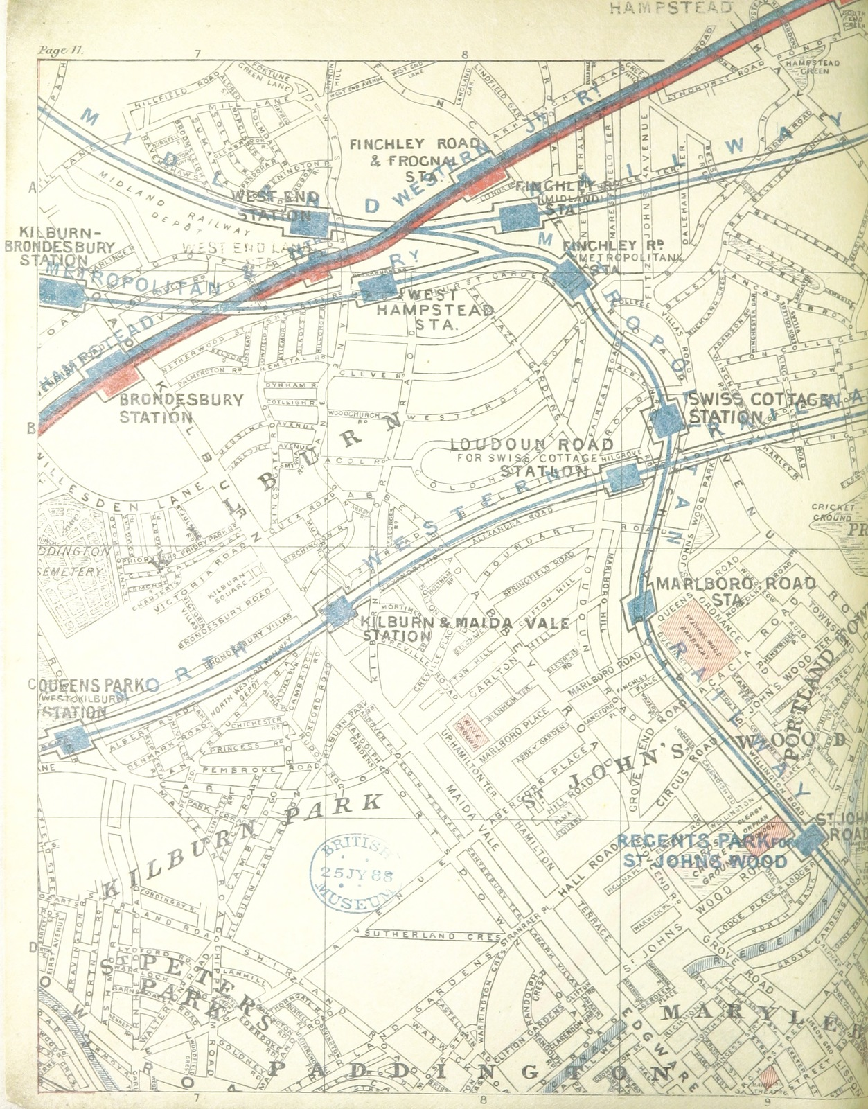 Map Of London 1600.Map From The District Railway Guide To London With Coloured Maps