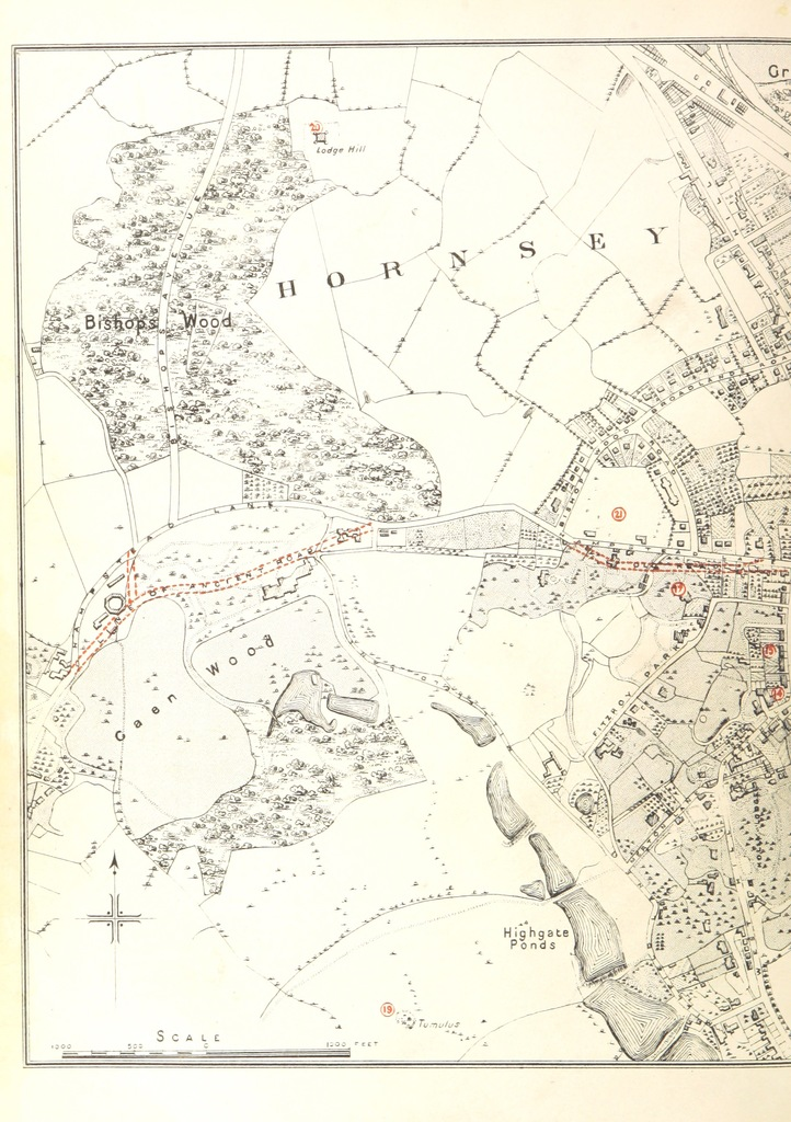 """map from """"The history, topography, and antiquities of Highgate, in the County of Middlesex; with notes on the surrounding neighbourhood ... With a map and illustrations"""""""