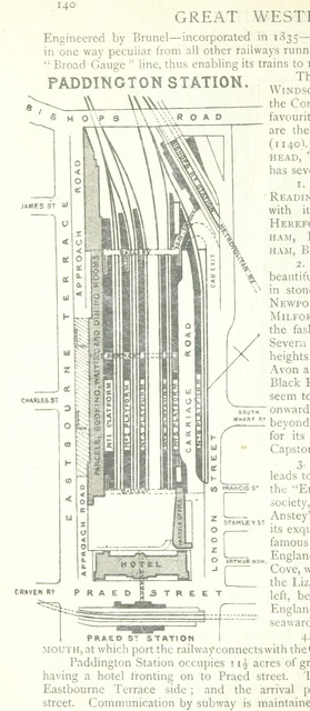 "Paddington Station from ""The District Railway Guide to London, with coloured maps, plans, etc"""